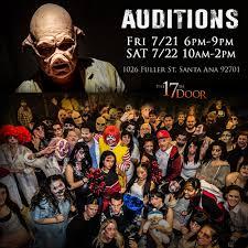 halloween horror nights scare actor auditions the 17th door the17thdoor twitter