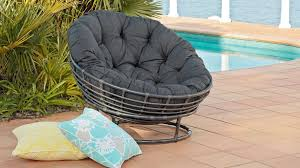 furniture black rattan outdoor papasan chair with black tufted