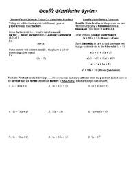 double distributive property review foil worksheet alg 2 tpt