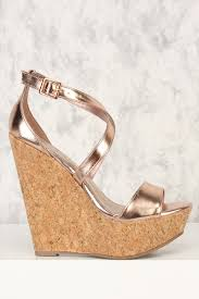 rose gold strappy open toe cork platform wedges faux leather