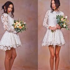 aliexpress com buy white lace short wedding dress long sleeve