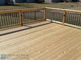 simple cedar deck with corner stairs for patio expansion des