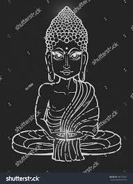 drawing buddha statue art vector illustration stock vector