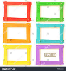 wooden picture frames color set your stock vector 120002890