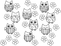 print full size image free colouring sheets animal owl for