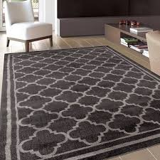 Designer Modern Rugs Trellis Contemporary Modern Design Grey Area Rug 5 3 X 7 3
