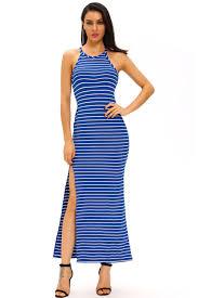 blue white stripes maxi dress with side slit stripe maxi dresses