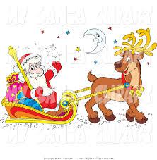 santa riding sleigh clipart 15