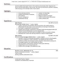 Math Teacher Resume Sample by Cool Design Ideas Teaching Resume Examples 6 17 Best Ideas About