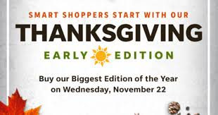 thanksgiving deals newspaper to be offered a day early this year