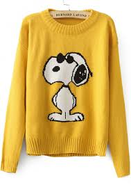 yellow sleeve snoopy pattern knit sweater abaday