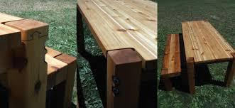 Farmhouse Patio Table by Bolt Cedar Patio Table U0026 Benches Farmhouse Patio Furniture