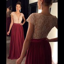 formal sequins lace short capped sleeves chiffon long burgundy
