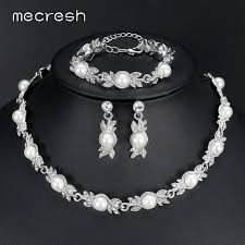 earrings bracelet sets images Mecresh simulated pearl bridal jewelry sets silver color wedding jpg