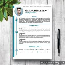 modern curriculum vitae template resume template modern cover letter from wordresume on etsy