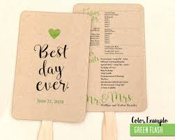 wedding program fan template best day wedding program fan cool colors
