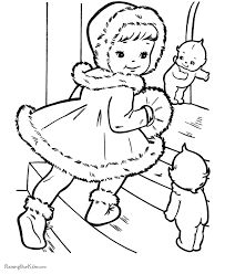 kids christmas coloring pages visiting