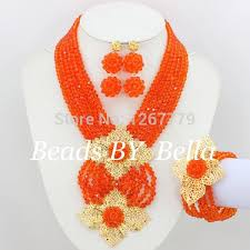orange beads necklace images New african jewelry set orange nigerian wedding african beads jpg