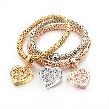 silver chain bracelet with heart images Gold silver chain bracelet with round charm chokers pendants jpg