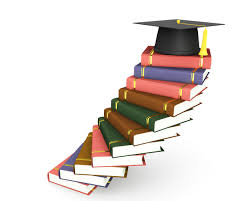 Stairs Book by Stairs Made Of Books With Globe And Graduation Cap Stock Photo