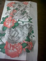 full sleeve tattoo design time and roses by tattoosuzette