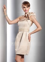 sheath column one shoulder short mini satin wedding dress with