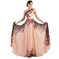 wholesale grace karin flower print long prom dresses 2016 chiffon