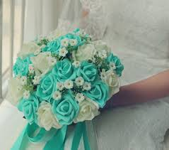 turquoise roses turquoise green ivory wedding bouquet turquoise flowers bridal
