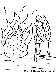 moses and the burning bush coloring page kids coloring free