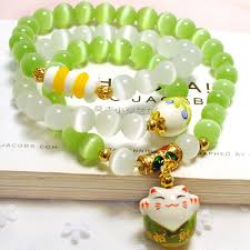 natural white opal natural green and white opal cat u0027s eye stone bracelet ceramics