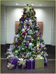 christmas tree with purple decorations rainforest islands ferry
