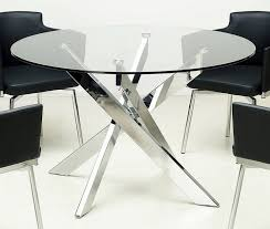 Dining Table And Chairs Used Glossy Silver Round Glass Dining Tables With Black Leather