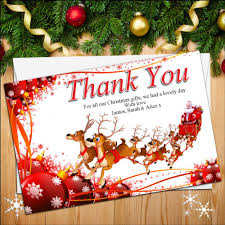 christmas thank you cards 10 personalised reindeer christmas thank you cards n34