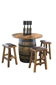 reclaimed wood pub table sets reclaimed whisky barrel pub table