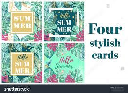 summer tropical cards label palm leaves stock vector 663351961