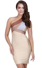 ombre one shoulder bandage bodycon dress the kewl shop