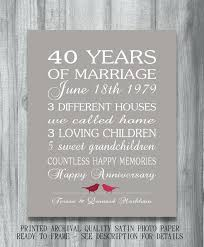40 year anniversary gift ideas ruby wedding anniversary gifts for parents th gift ideas uk