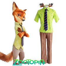 Hawaiian Halloween Costume Fashion Zootopia Crazy Animal Scam Artist Fox Nick Wilde