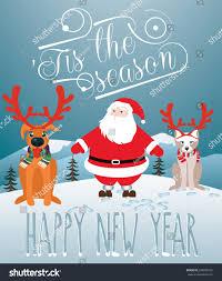 christmas card santa dog cat pretending stock vector 228299575
