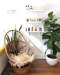 Retro Wicker Chairs Bambou Vintage Pivotant Fauteuil à Bascule Et Ottoman