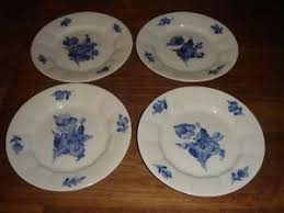 4 x blue flower angular cake bread butter plates royal
