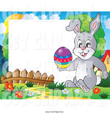 clip art of a happy easter rabbit holding an easter egg on a frame
