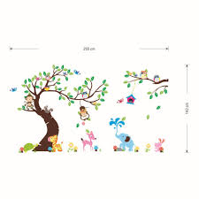 aliexpress com buy high class monkey tree wall stickers cartoon aliexpress com buy high class monkey tree wall stickers cartoon decals jungle animals wallpaper kids home bedroom nursery decora large vinyl mural from
