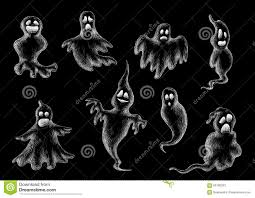 halloween flying ghost sketches on black stock vector image