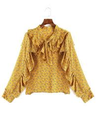 yellow blouse bow ruffle floral blouse yellow blouses one size zaful