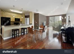 kitchen and dining room open floor plan condo open floor plan granite kitchen stock photo 66607723