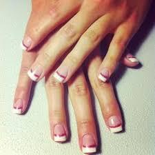 gel nails white tip pink u0026 orange wisps with rhinestones