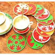 christmas decorations wholesale 10pcs lot christmas water glass mat restaurant dinning table