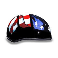 American Flag Skull Classic Biker Leather U2014 D O T Skull Cap Motorcycle Helmet Freedom