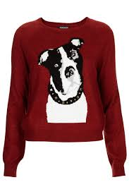topshop knitted boxer dog motif jumper in red lyst